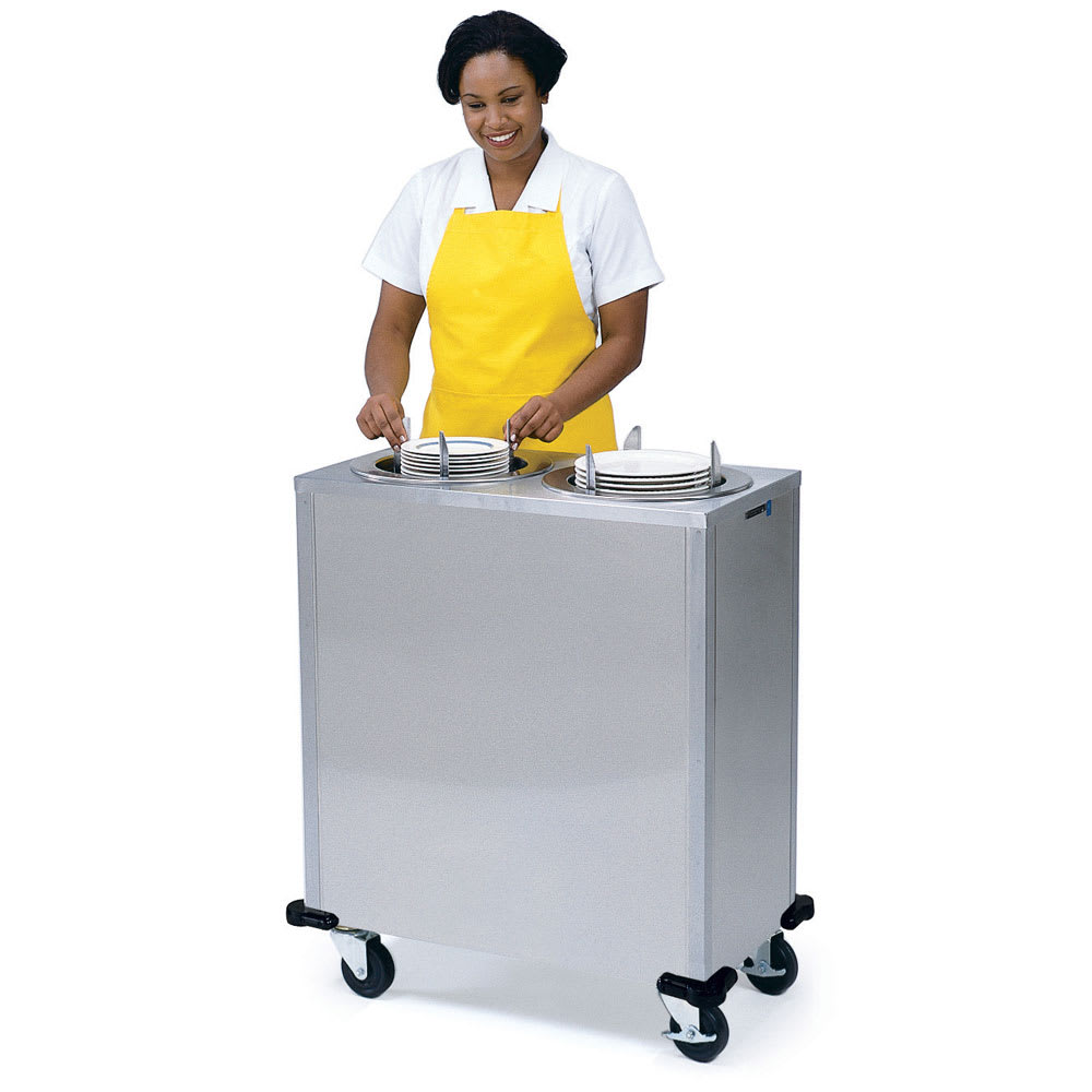 "Lakeside 925 9.75"" Mobile Dish Dispenser Cabinet w/ 2 Self-Leveling Tubes"