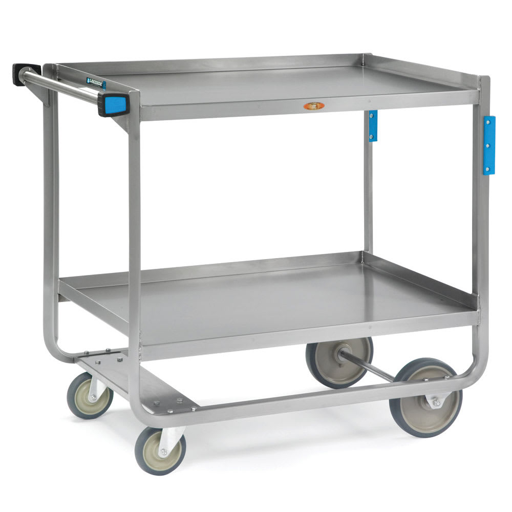 Lakeside 947 2 Level Stainless Utility Cart w/ 1000 lb Capacity, Raised Ledges
