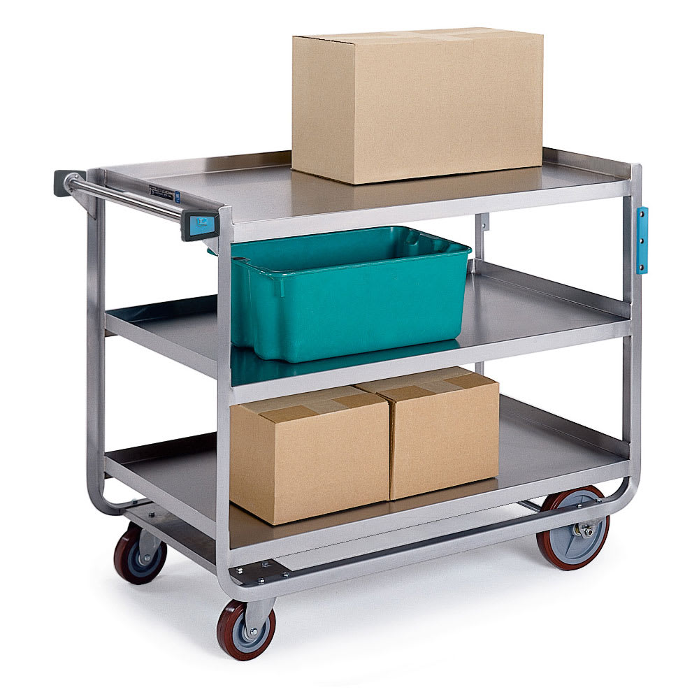 Lakeside 954 3-Level Stainless Utility Cart w/ 1000-lb Capacity, Raised Ledges