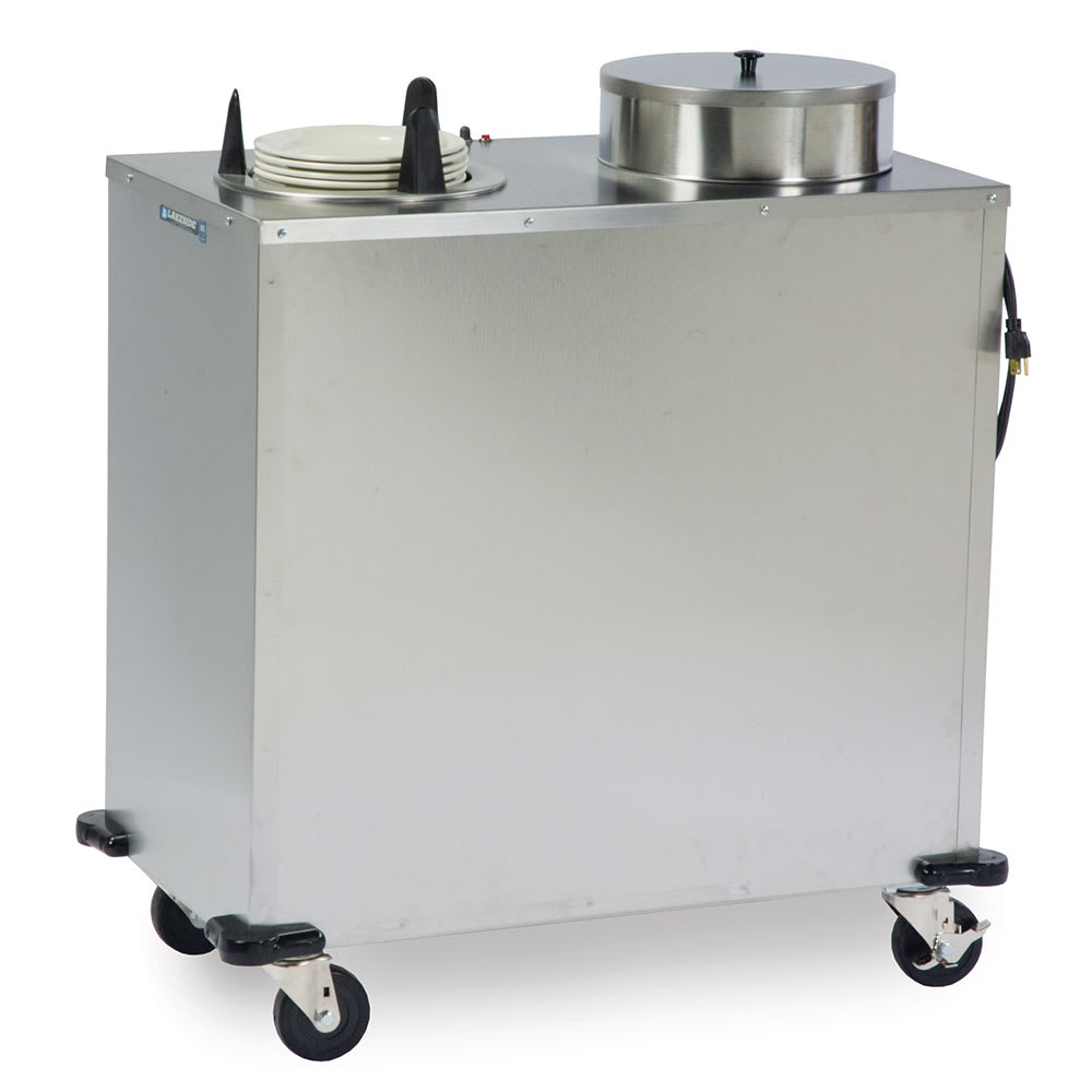 """Lakeside E6209 Mobile Heated Plate Dispenser w/ 2-Tubes, Up To 9-1/8"""" Dish"""