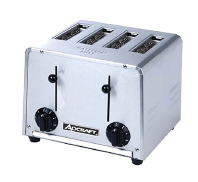 Adcraft CT-04/2200W Commercial Pop-Up Toaster w/ 4-Slice Capacity & Adjustable Controls, Stainless