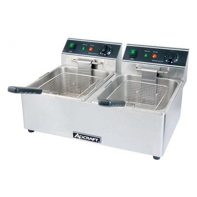 Adcraft DF-6L/2 Countertop Electric Fryer - (2) 15-lb Vat, 120v/1ph