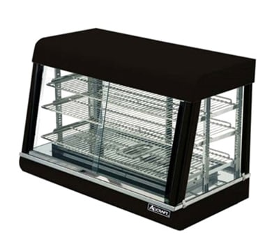 "Adcraft HD-36 35.5"" Self-Service Countertop Heated Display Case w/ Straight Glass - (3) Shelves, 120v"