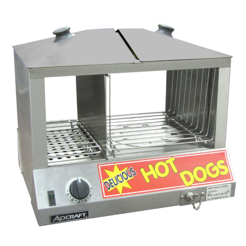 Adcraft HDS-1200W Side by Side Hot Dog & Bun Steamer w/ 100-Hot Dog & 48-Bun Capacity, Stainless