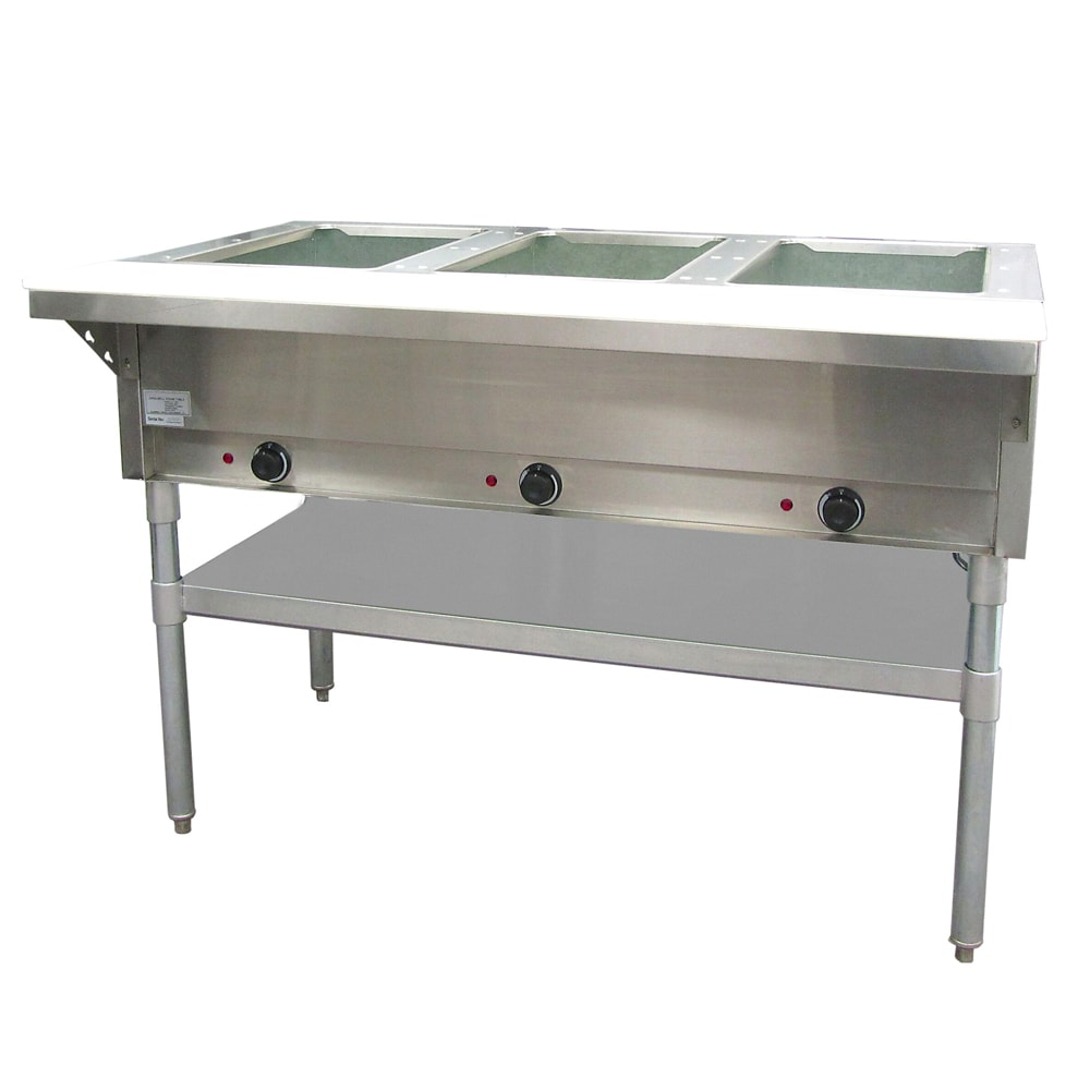 Adcraft ST-120/3 Steam Table - 3 Wells & Cutting Board, Infinite Controls,  Stainless