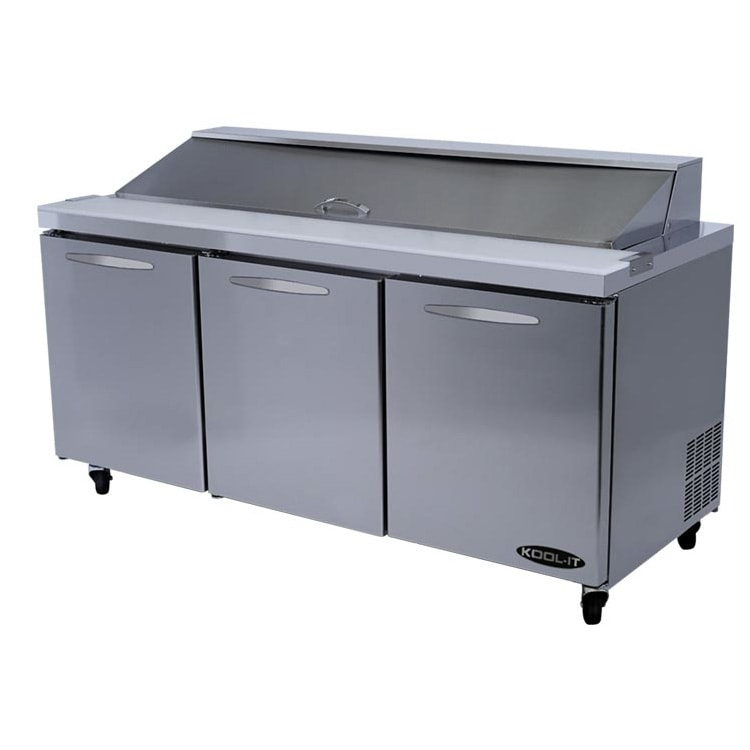 "Kool-It KSTM-72-3 72.4"" Sandwich/Salad Prep Table w/ Refrigerated Base, 115v"