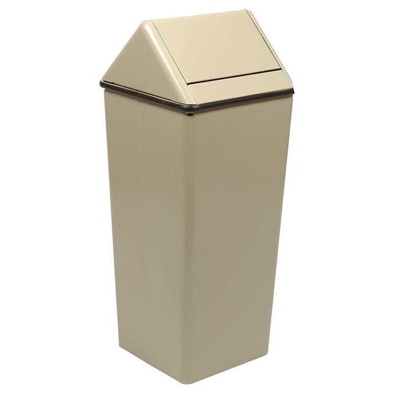 Witt 1311HTAL 13 gal Indoor Decorative Trash Can - Metal, Almond