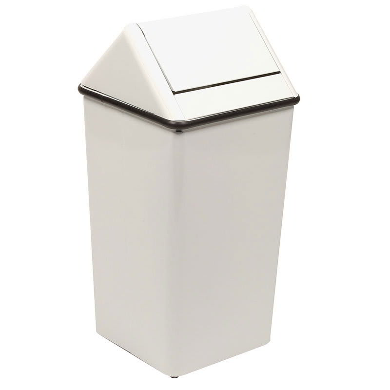 Witt 1311HTWH 13-gal Indoor Decorative Trash Can - Metal, White