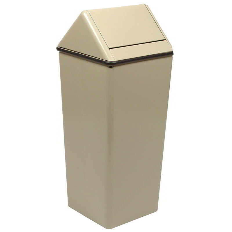 Witt 1411HTAL 21 gal Indoor Decorative Trash Can - Metal, Almond