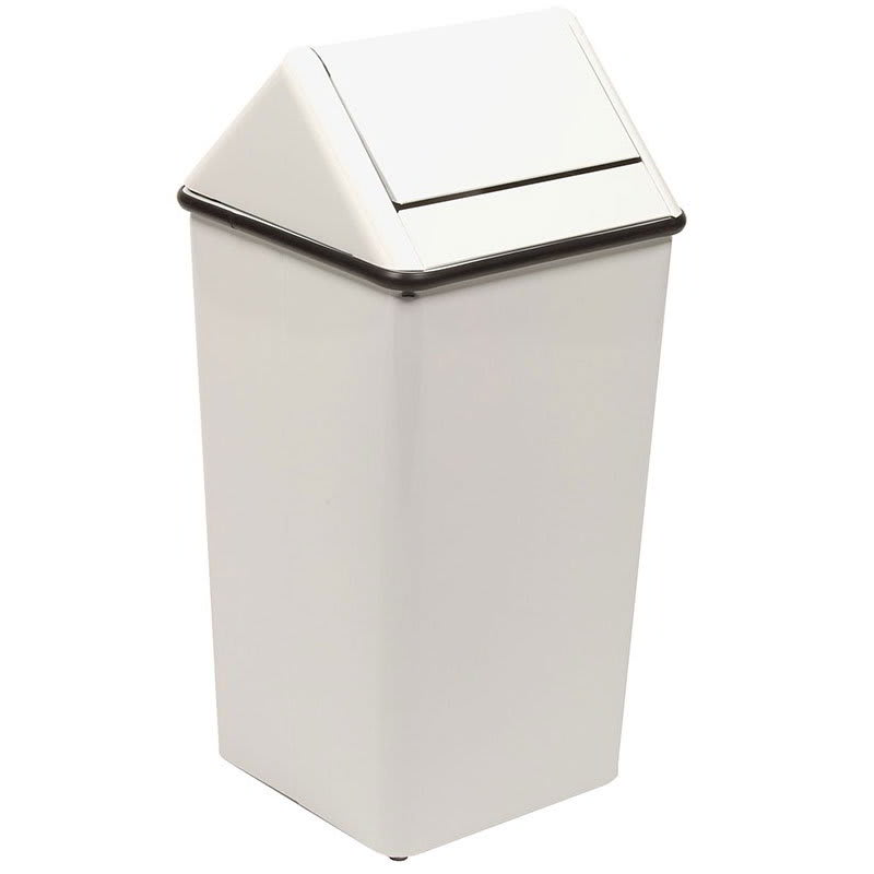 Witt 1411HTWH 21 gal Indoor Decorative Trash Can - Metal, White