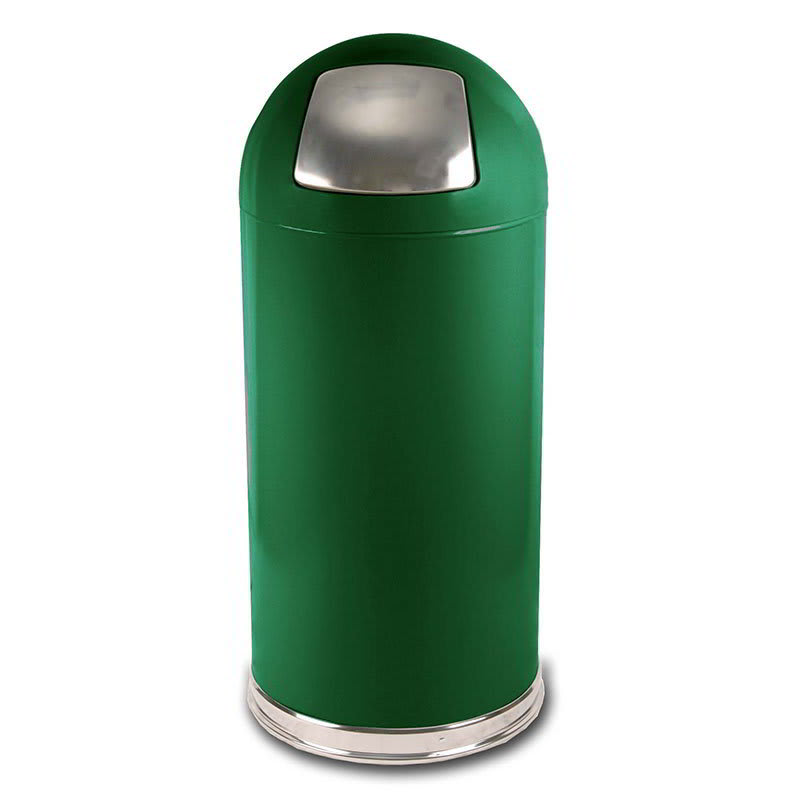 Witt 15DTSGN 15-gal Indoor Decorative Trash Can - Metal, Spruce Green