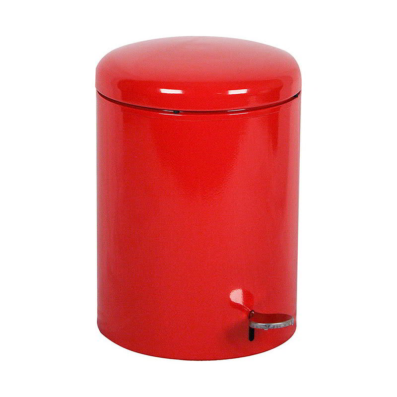 "Witt 2240RD 4-gal Round Metal Step Trash Can, 11.5"" dia. x 16""H, Red"
