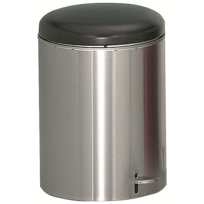 "Witt 2240SS 4 gal Round Metal Step Trash Can, 11.5"" dia. x 16""H, Stainless"