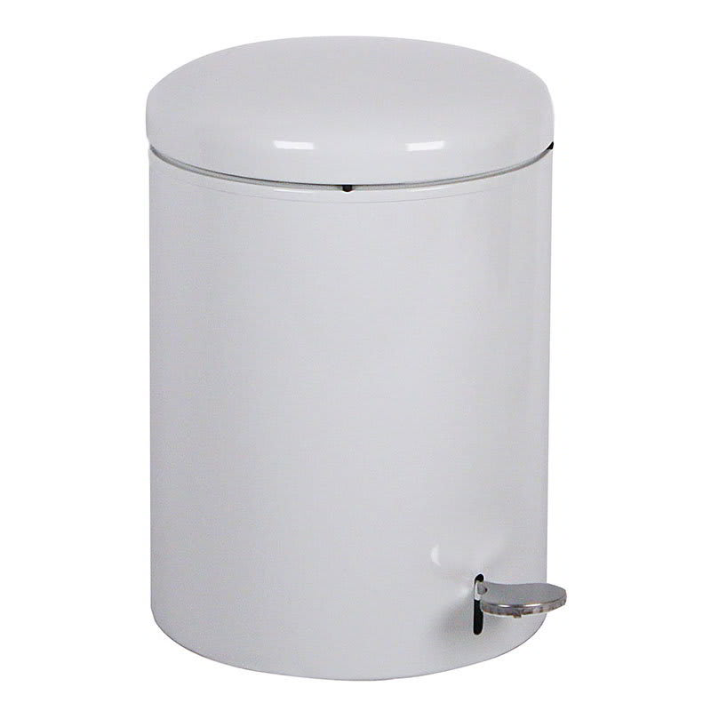 "Witt 2240WH 4-gal Round Metal Step Trash Can, 11.5"" dia. x 16""H, White"