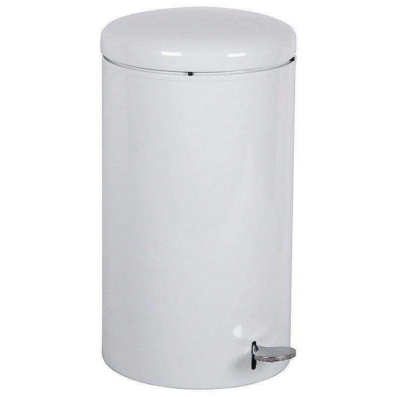"Witt 2270WH 7-gal Round Metal Step Trash Can, 11"" dia. x 21""H, White"