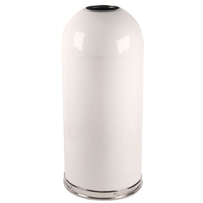 Witt 415DTWH 15 gal Indoor Decorative Trash Can - Metal, White