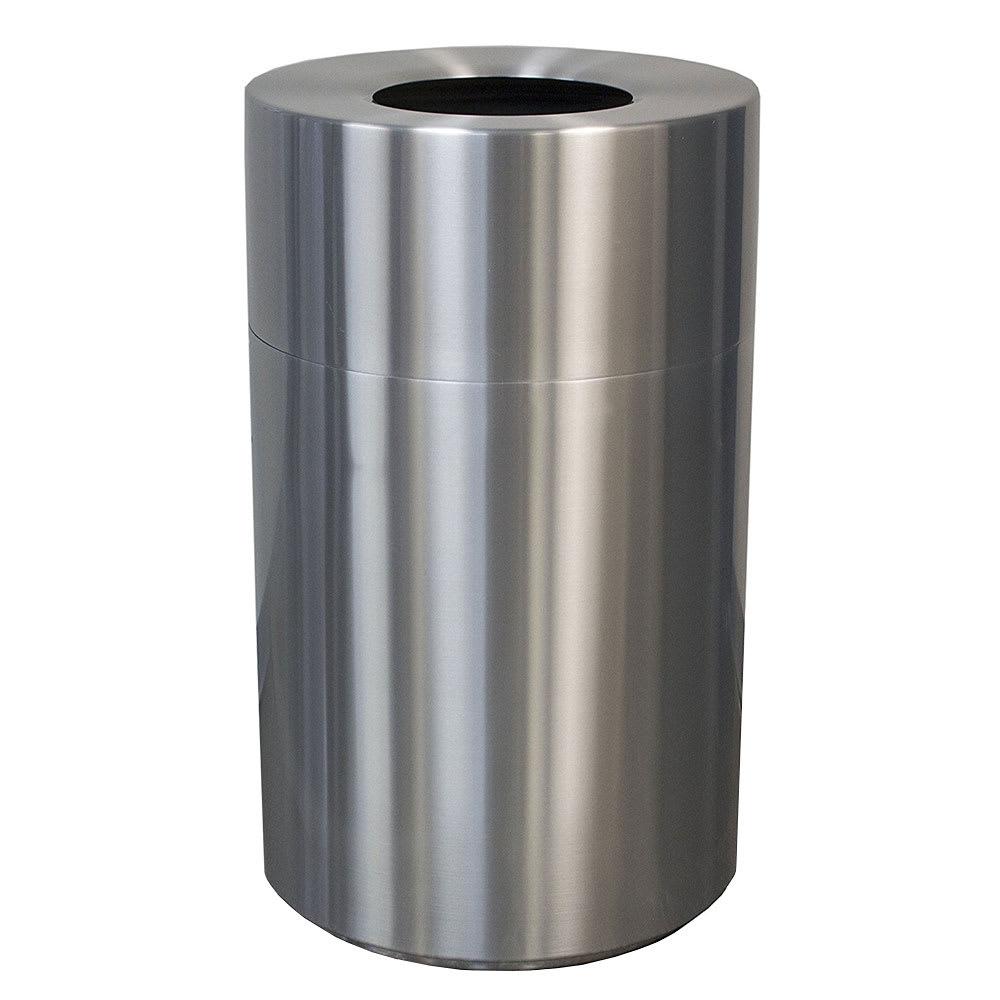 Witt AL55-CLR 55-gal Indoor Decorative Trash Can - Metal, Satin Aluminum
