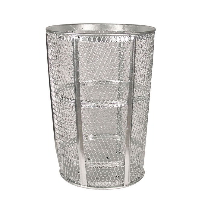 Witt EXP-52 48-Gallon Outdoor Trash Can w/ See Through Mesh, Galvanized Steel