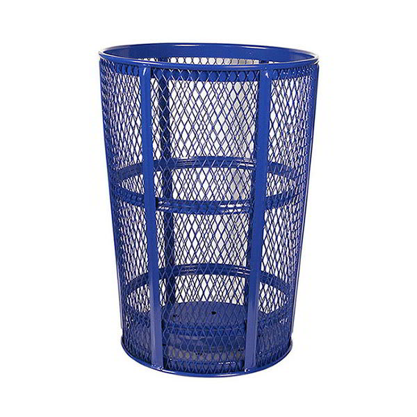 Witt EXP-52BL 48 Gallon Outdoor Trash Can w/ See Through Mesh, Blue Finish