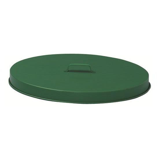 Witt FT255P Round Flat Trash Can Lid - Metal, Green
