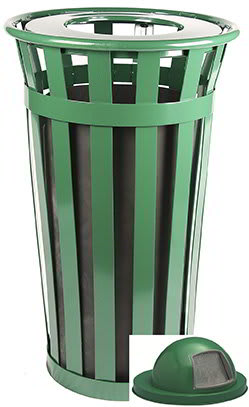 Witt M2401-DT-GN 24 Gallon Outdoor Flat Bar Trash Can w/ Dome Top Lid, Green Finish