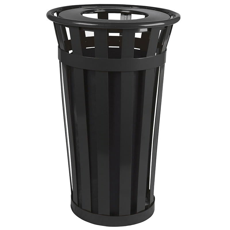 Witt M2401-FT-BK 24-Gallon Outdoor Flat Bar Trash Can w/ Flat Top Lid, Black Finish