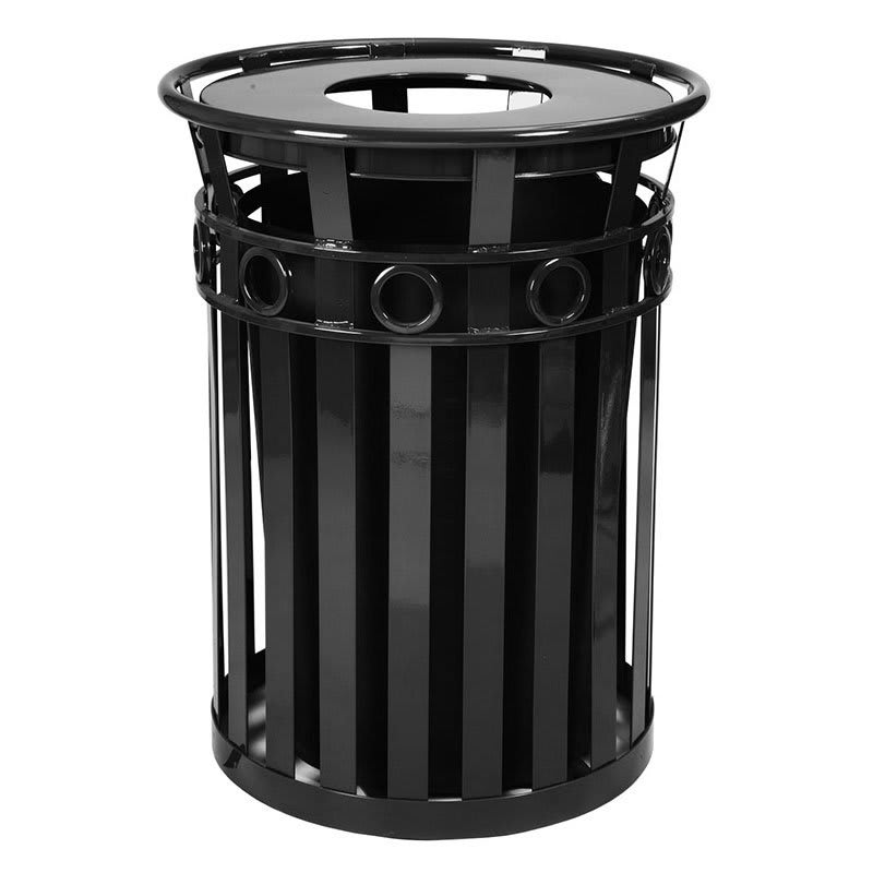 Witt M3600-R-FT-BK 40 Gallon Outdoor Flat Bar Trash Can w/ Flat Top Lid, Black