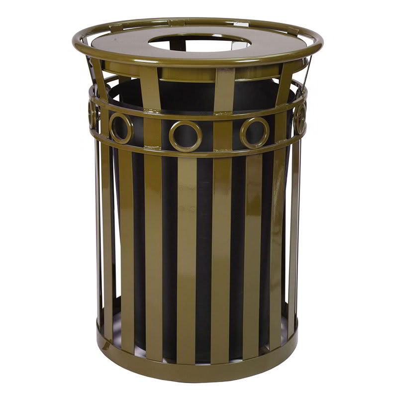 Witt M3600-R-FT-BN 40-Gallon Outdoor Flat Bar Trash Can w/ Flat Top Lid, Brown