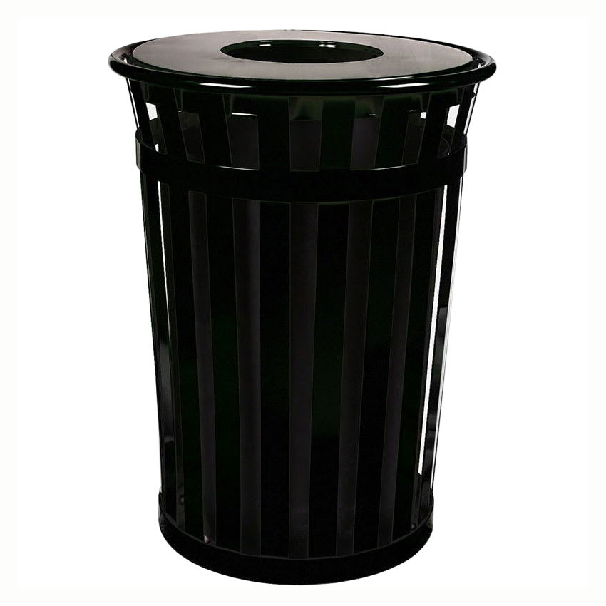 Witt M3601-FT-BK 36-Gallon Outdoor Flat Bar Trash Can w/ Flat Top Lid, Black