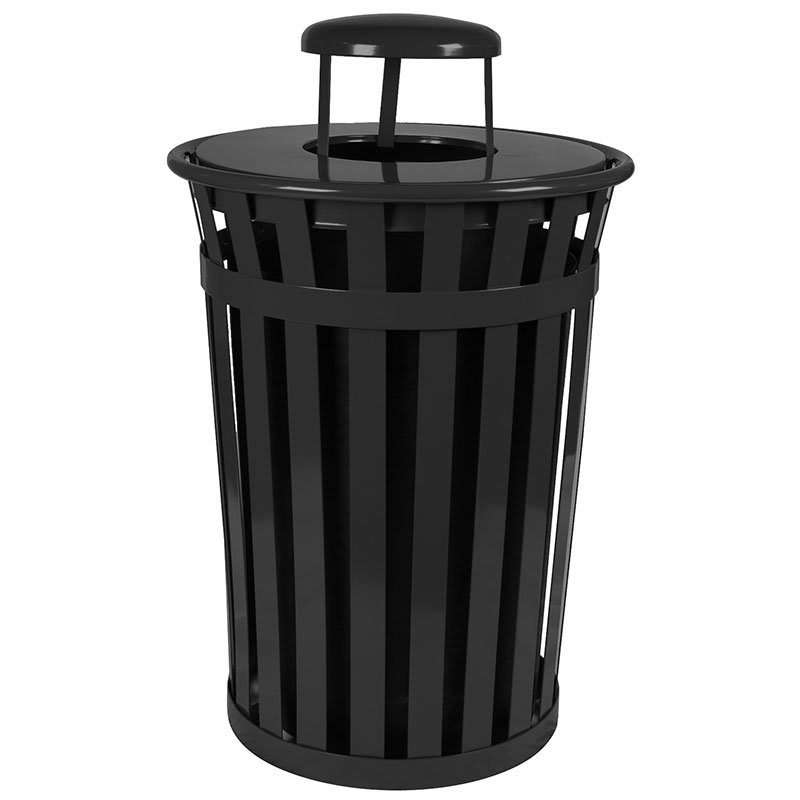 Witt M3601-RC-BK 36 Gallon Outdoor Flat Bar Trash Can w/ Rain Cap Lid, Black