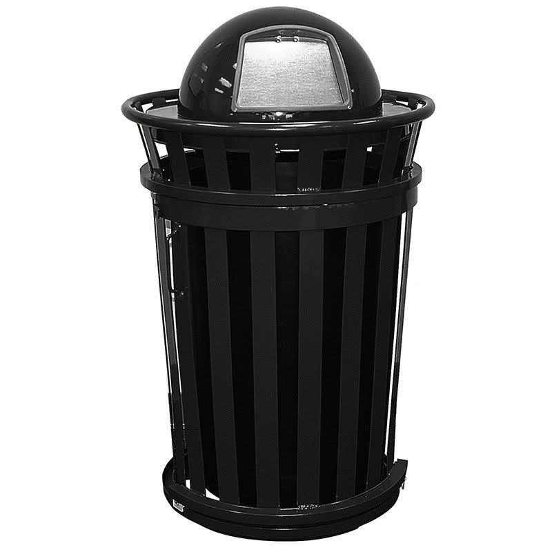 Witt M3601SD-DT-BK 36-Gallon Outdoor Trash Can w/ Dome Top Lid & Sliding Door, Black