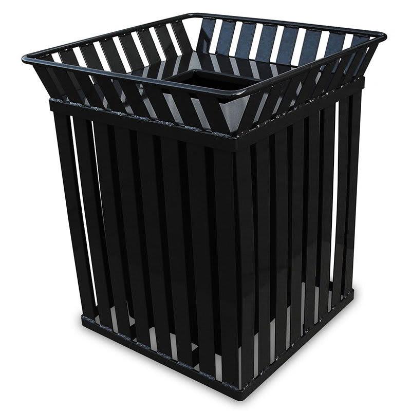 Witt M3601-SQ-FT-BK 36 Gallon Outdoor Square Trash Can w/ Anchor Kit, Black