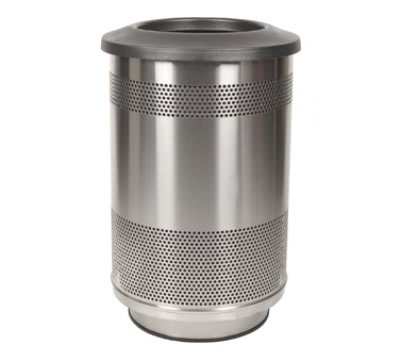 Witt SC55-01-SS-FT 55 gal Indoor Decorative Trash Can - Metal, Stainless Steel
