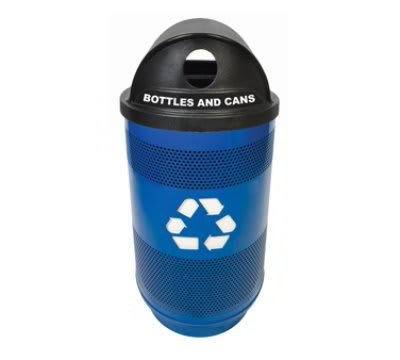 Witt SC55-02-BS-HTRHH 55-Gallon Perforated Recycling Container w/ Logo & 2-Hole Hood Top, Blue