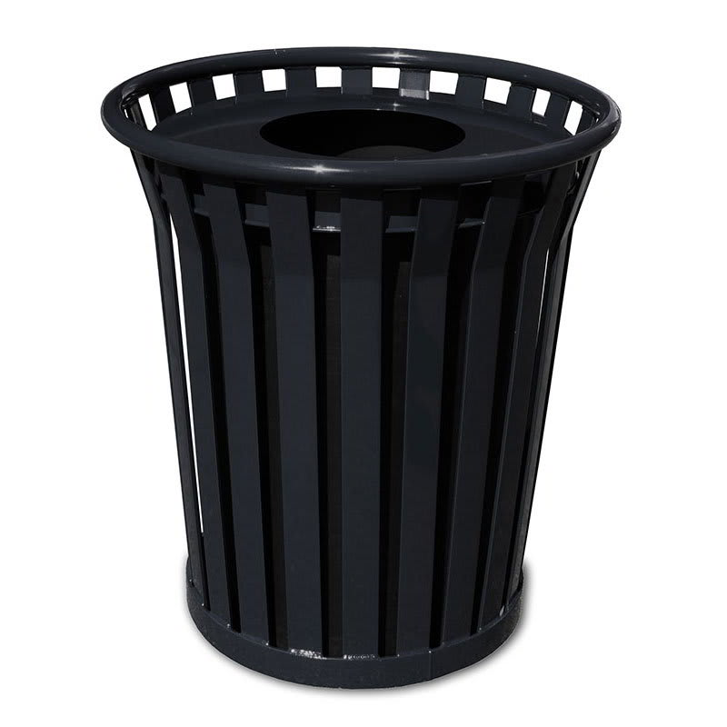 Witt WC2400-FT-BK 24-Gallon Outdoor Trash Can w/ Flat Top Lid & Anchor Kit, Black