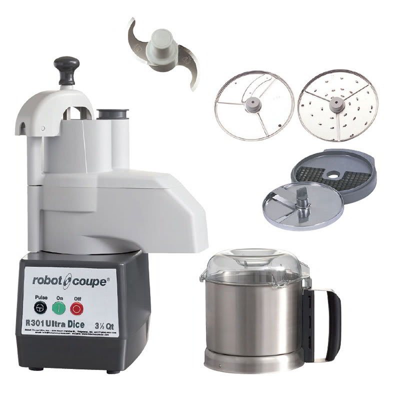 Robot Coupe R301 DICE ULTRA 1 Speed Continuous Feed Food Processor w/ Side Discharge & 3.5 qt Bowl, 120v