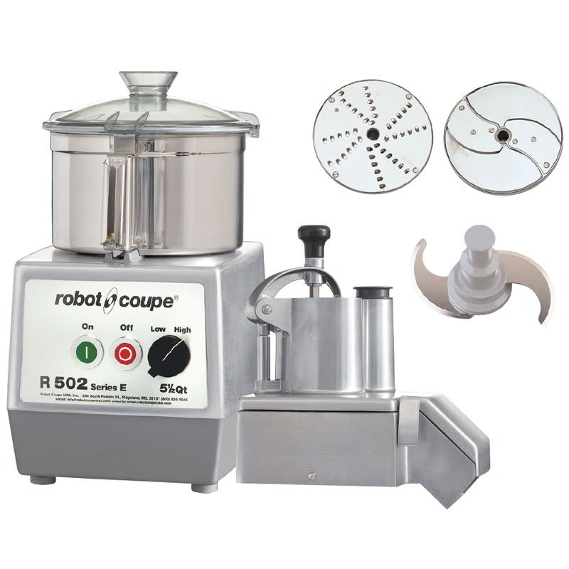 Robot Coupe R502 2-Speed Continuous Feed Food Processor w/ 5.5-qt Bowl, 208-240v/3ph