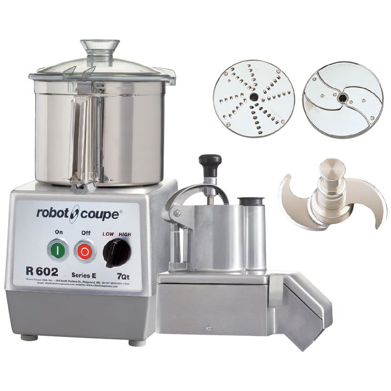 Robot Coupe R602 2-Speed Continuous Feed Food Processor w/ 7-qt Bowl, 208-240v/3ph
