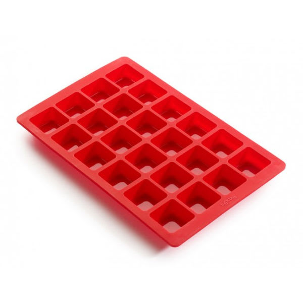 Lekue 0216024R01M017 24 Section Mini Brownie Mold Baking Sheet - Silicone, Red