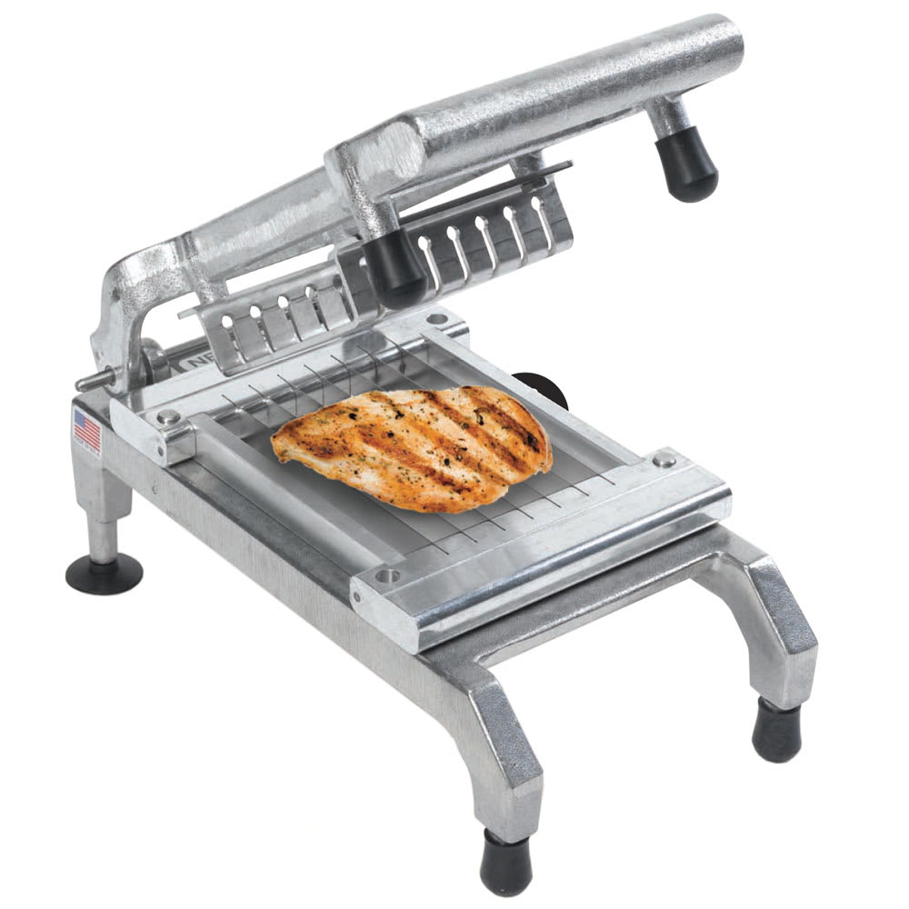 "Nemco 55975-2 Chicken Slicer w/ .25"" Cut, Unsharpened Blades, Rubber Bumpers On Pusher Block"