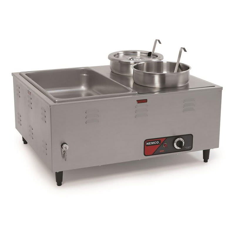 """Nemco 6060A Mini Steamtable w/ Front Drain Valves & Extra Steep Wells, 14x27x24"""", 120v"""