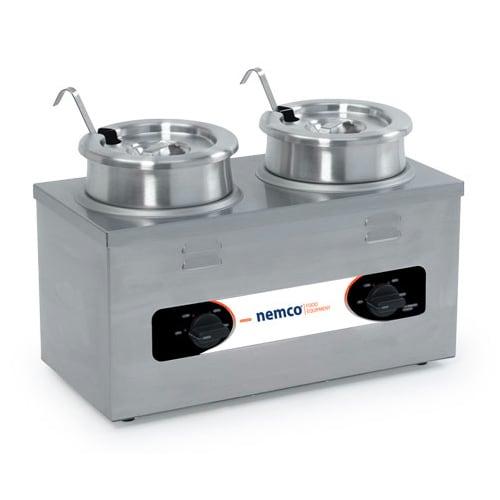 Nemco 6120A-220 (2) 4 qt Countertop Soup Warmer w/ Thermostatic Controls, 220v/1ph