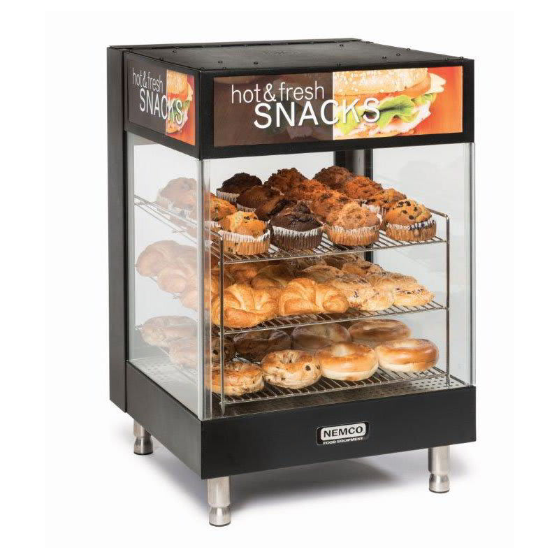 "Nemco 6425 22"" Full-Service Countertop Heated Display Case - (3) Shelves, 120v"