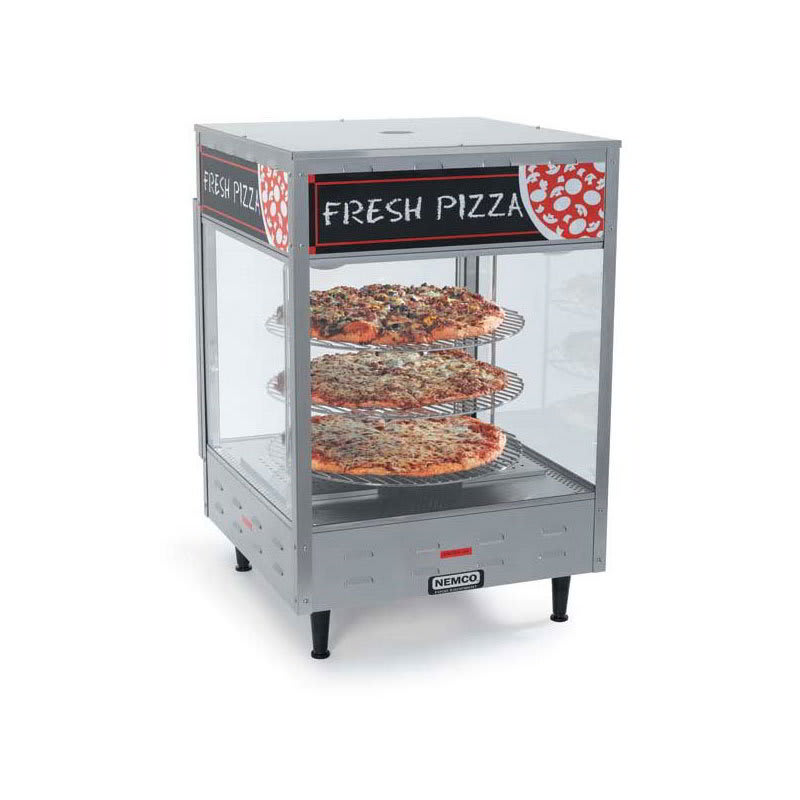 "Nemco 6450-4 4-Tier Rotating Pizza Merchandiser - Illuminated Interior, 33.88x18.5x18.5"""