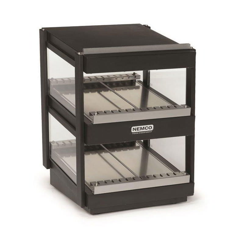 "Nemco 6480-18S-B 18"" Self-Service Countertop Heated Display Shelf - (2) Shelves, 120v"