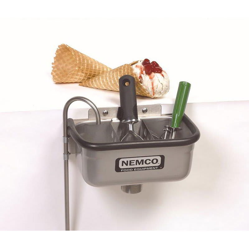 """Nemco 77316-10 10"""" Spade Cleaning Well w/ .38"""" Round Spigot & Rubber Bumper, Stainless"""