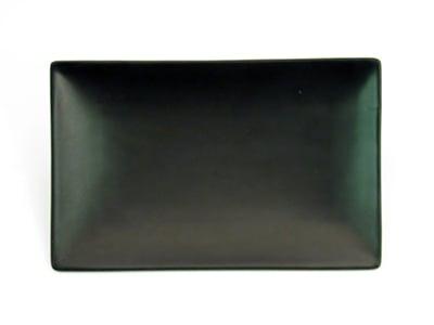 "CAC 666-34-BLK Japanese Style Rectangular Platter - 8-1/2x5-1/2x1-1/4"" Ceramic, Black"