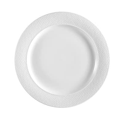 """CAC BST9 10"""" Boston Dinner Plate - Embossed Porcelain, Super White"""