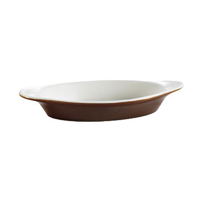 CAC COA-8-BWN 8 oz Oval Ceramic Welsh Rarebit, Brown/White