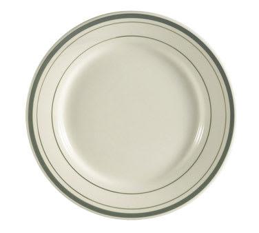 "CAC GS-16 10.5"" Greenbrier Dinner Plate - Plain, (3) Green Bands"